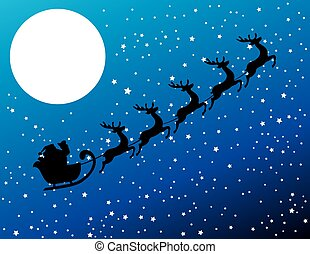 santa stars - Santa Claus flying with deer