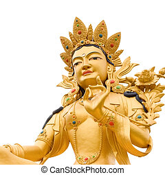 Golden Buddah statue of Green Tara a Tibetan buddhist God...