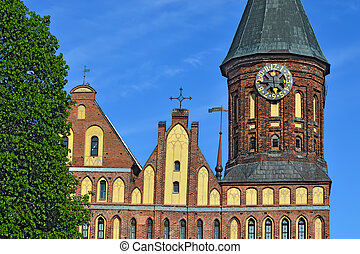 Towers Koenigsberg Cathedral Symbol of Kaliningrad, Russia -...
