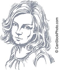 melancholic lady with stylish hair - Graphic vector...