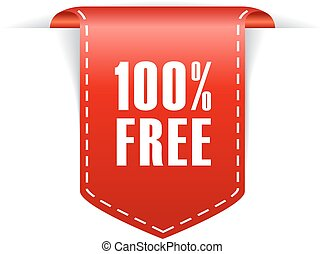 100 free label isolated on white background