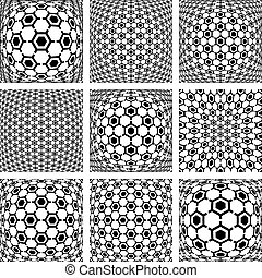 Hexagons patterns. Abstract backgrounds set. - Hexagons...