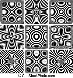 Circles and rings patterns set. - Abstract illustrations...