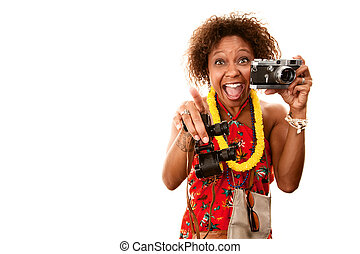 African-American Tourist - Pretty African-American Woman...