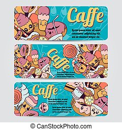 Vector hand drawn doodles caffe design banners,cards,...