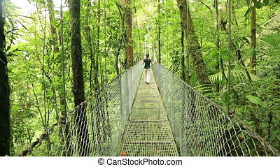 Woman on hanging bridge, Costa Rica - Woman walking on...