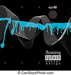 Modern vector inky wallpaper, eps8 flowing lines, ephemeral...