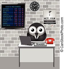 Stocks and Shares Crash - Comical bird city trader with...