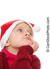 Santa dreamy child girl - little dreamy girl wearing a Santa...