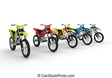 Motocross bikes isolated on white background