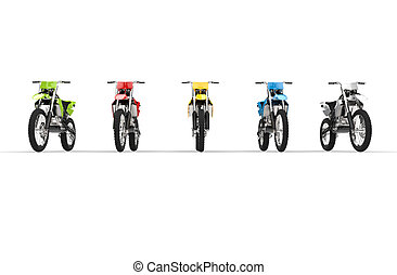 Motocross bikes isolated front view - Motocross bikes...
