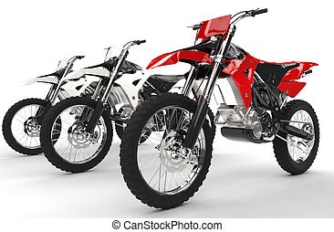 Red mx bike close up - isolated on white
