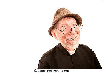 Friendly Clergy - Friendly Priest or Pastor on a White...