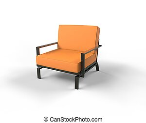 Orange modern armchair