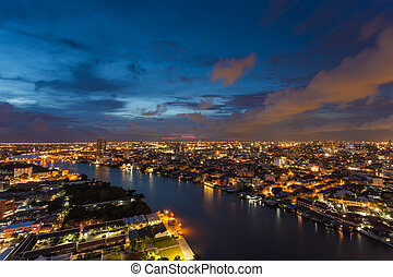 predios, cidade,  Bangkok, modernos,  chaophaya, tailandia, Rio