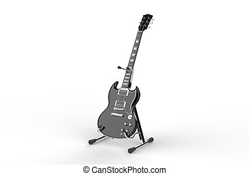 Black electric guitar on stand