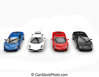 Row Of Supercars Top View