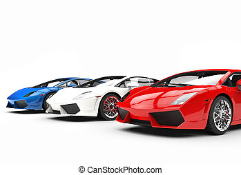 Red White and Blue Supercars