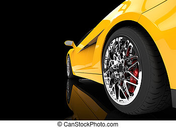 Yellow Supercar Wheel Closeup On Black Background