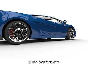 Dark Blue Supercar Side View