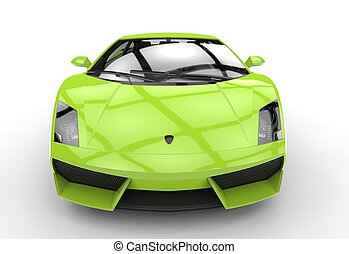 Bright Green Supercar Front View