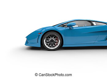 Blue Supercar Side View