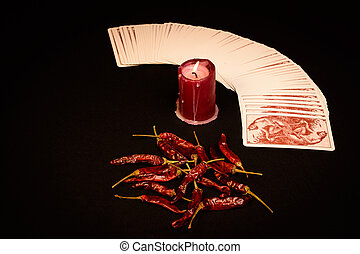Magic - In the pictured a deck of cards open fan , a red...