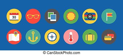 Travel icons logo set Vacation icons Summer holiday,...