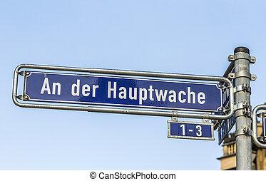 street sign an der hauptwache in Frankfurt