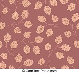 Seamless pattern autumn leaves colored in modern marsala...