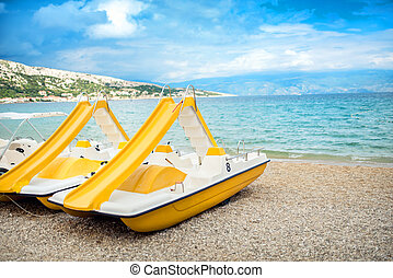 plage, pagaie, jaune, bateaux, vacances, amusement,...