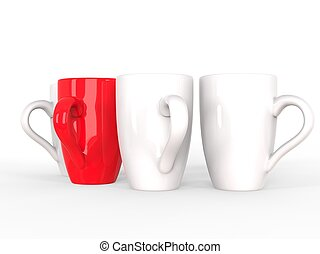 Red coffee mug stands out of a row of white mugs