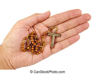 Hand with rosary isolated on a white background - Hand with...