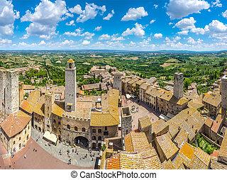 町, イタリア,  San, 田舎, トスカーナ,  gimignano, 歴史的,  tuscan