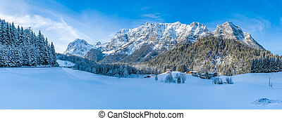 Beautiful winter mountain landscape in the Bavarian Alps,...