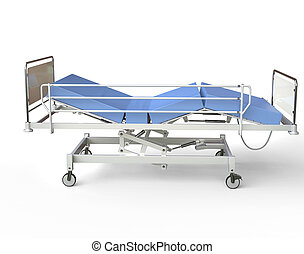 Hospital bed with blue bedding