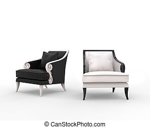 White and black armchairs with black and white wood armrests