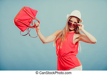 Woman in hat sunglasses and red shirt with handbag - Cute...