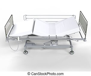 Hospital bed with white bedding