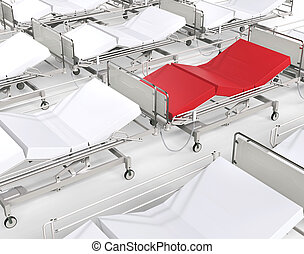 Red hospital bed stands out among many white beds