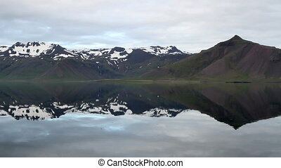 Iceland Landsccape - Steady shot of Iceland Lake and snowy...