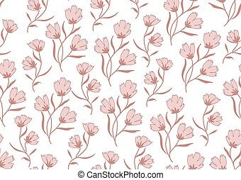 Seamless pattern autumn flowers colored in modern marsala...