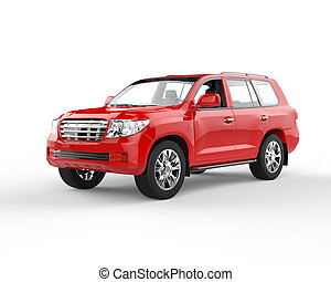 Red SUV isolated on white bg - Red SUV isolated on white...