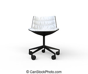 White modern office chair front