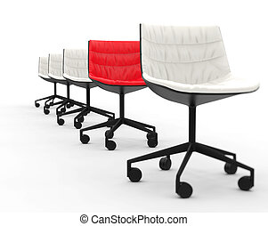 Red office chair in a row