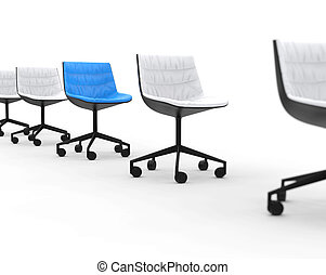 Blue office chair in a row