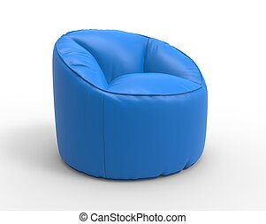Blue lazy chair side view