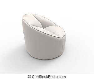 White lazy chair side view.