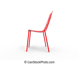 Red Clear Plastic Chair - Side View