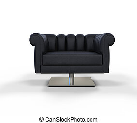 Modern Black Leather Armchair